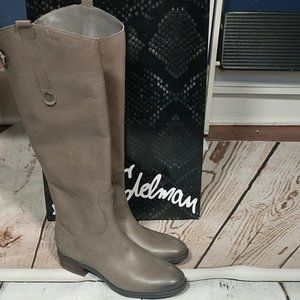 Sam Edelman Penny Gray Leather Riding Boots